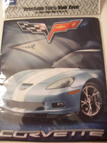"GM Stretchable Fabric Book Cover ~ Silver Corvette (Fits Books Larger than 10"" x 8"") - 1"