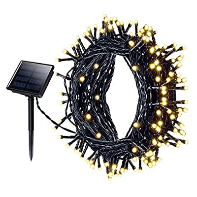 [ 8 Modes, 200LED, 22M ] Solar String Lights Mpow Fairy Lights Decorative Light Waterproof Outdoor Lights Christmas Lights Solar Powered Starry lights for Garden, Patio, Yard, Home, Christmas Tree, Parties, Wedding , Warm White