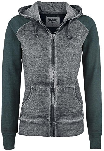 Black Premium by EMP Burnout Zipper Felpa jogging donna verde/grigio XXL