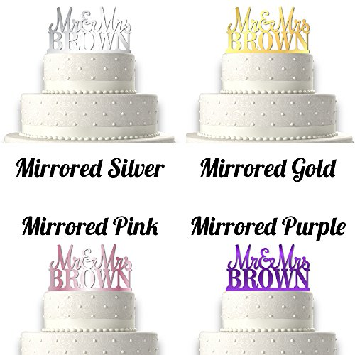 Sugar Yeti | Custom Personalized Mr & Mrs Wedding Cake Topper With Your Last Name Acrylic Cake Topper for Special Events (Mirrored Colors)