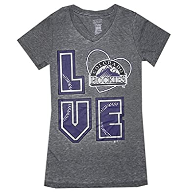MLB Girls Team Logo Athletic T-Shirt (Vintage Look) - COLORADO ROCKIES