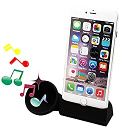 Dseap Silicone Horn Stand Speaker compatible with Apple iPhone 6 Plus iPhone 6s Plus 5.5 inch - Black