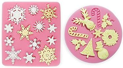 2er Weihnachten & Schnee Schneeflocke Motive Silikon Ausstechform Ausstecher Fondant Deko