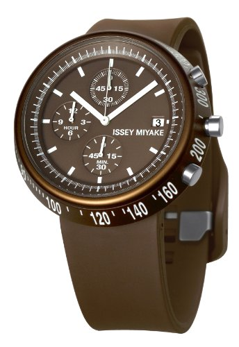 Issey Miyake IM-SILAT007 - Reloj unisex de cuarzo, correa de plástico color marrón