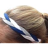 It S Ridic No Slip Grip Non-Slip Sports Athletic Nylon Triple Braided Sports Headband Navy Blue | White |G Grey
