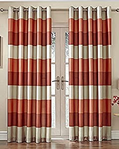 """Brazil Orange Beige Striped Faux Silk Lined Ring Top 46"""" X 90"""" Curtains #oir from PCJ SUPPLIES"""