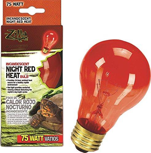 Zilla Reptile Terrarium Heat Lamps Incandescent Bulb, Night Red, 75W (Bearded Dragon Heat Lamp Bulb compare prices)