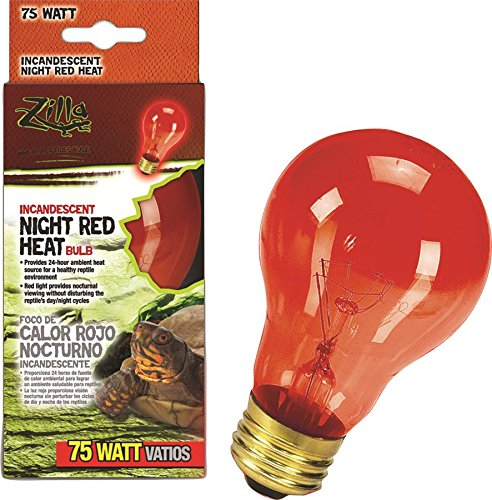 Zilla Reptile Terrarium Heat Lamps Incandescent Bulb, Night Red, 75W (Heat Lamp For Lizards compare prices)