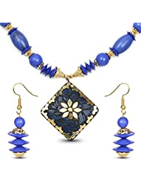Johareez Gold Plated Tribal Style Fashion Necklace Set For Women Adorned With Blue Stone
