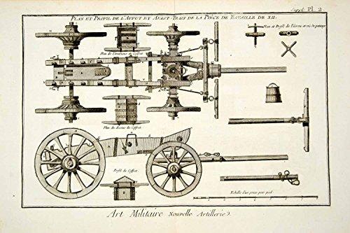 1779 Copper Engraving Antique Field Artillery Limber Caisson Cart Diderot DDR3 - Original Copper Engraving