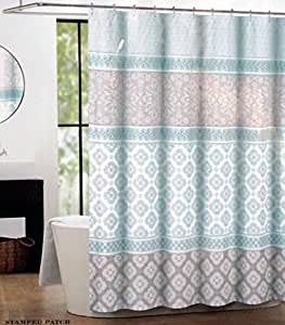 Max Studio Fabric Shower Curtain Light Green And Gray Stamped Patch Home Kitchen