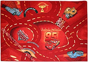 """Children's Character Rug - Disney Cars 'World of Cars - Red' - 095x133cms (3'2"""" x 4'4"""" Approx) + FREE 3D Stickers - Great Gift Idea For a Child's Bedroom"""