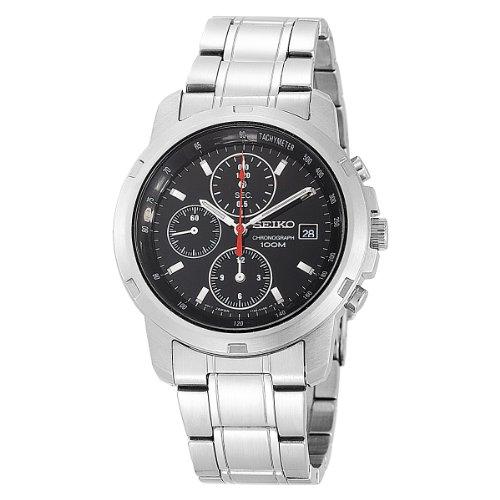 Seiko Men'S Sndb03 Stainless Steel Chronograph Black Dial Watch