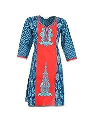 Karni Women's Cotton Blue & Red Kurti