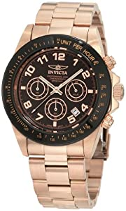 Invicta Men's 10706 Speedway Chronograph Brown Dial 18k Rose Gold Ion-Plated Stainless Steel Watch