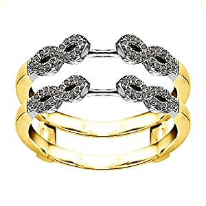 0.38CT Black Cubic Zirconia Infinity Ring Guard Enhancer set in Two Tone Sterling Silver (0.38CT TWT Black Cubic Zirconia)