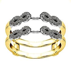 0.38CT Black Diamonds Infinity Ring Guard Enhancer set in Two Tone Sterling Silver (0.38CT TWT Black Diamonds)