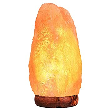 Himalayan Salt Lamp PULNDA Glow Natural Hand Carved Rock Salt Lamp with Neem Wood Base/Bulb and Dimmer Control, Crystal, Amber, 8 - 9-Inch for Lighting, Decoration and Air Purifying