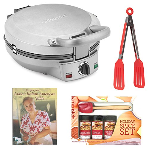 Cuisinart International Chef Crepe, Pizzelle & Pancake Plus Bundle with Mini-Spatula Spice Set + 8-inch Tongs + Cookbook (Cuisinart Tortilla Maker compare prices)