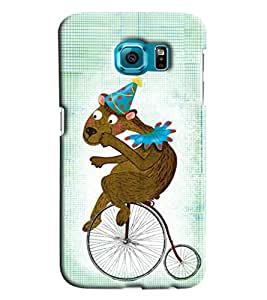 Blue Throat Animal On Bicycle Printed Designer Back Cover/ Case For Samsung Galaxy S7