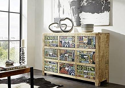 mobili in legno massello in legno massello legno di mango MULTICOLORE CASSETTIERA IN LEGNO MASSELLO Mobili VINTAGE LACCATO DETROIT #40