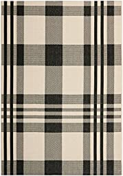 Safavieh Courtyard Collection CY6201-216 Black and Bone Indoor/ Outdoor Area Rug, 4 feet by 5 feet 7 inches (4\' x 5\'7\
