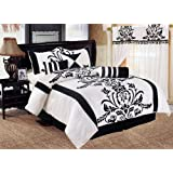 Chezmoi Collection 7-Piece White With Black Floral Flocking Comforter Set Bed-in-a-Bag For King Size Bedding 106...