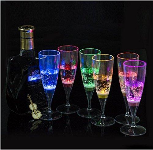 LED vin champagne flûte de lumière jusqu'à LED LUNETTES DE LIQUIDE activée