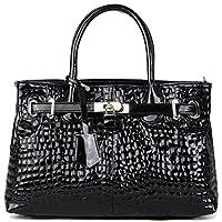 PASTE Women's Elegant Split Leather Crocodile Grain Hot Totes/Shoulder Bag,Handbag Black