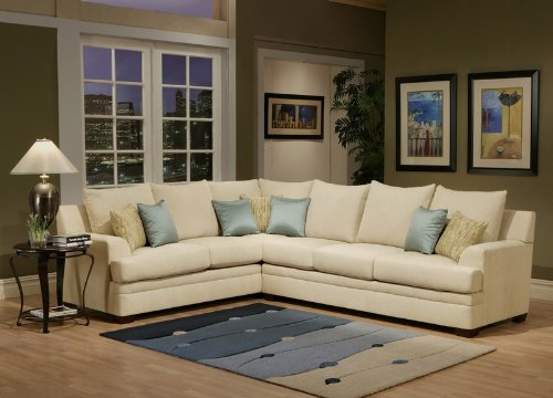 Best Price Sectional Sofa With Light Teal Satin Cushions In Natural Color  For Sale
