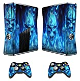 GamesDur Designer Skin Sticker for Xbox 360 Slim Console with Two Wireless Controller Decals- Skull of Blue Fire