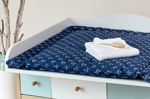 kraftkids wickelauflage wei e anker auf dunkelblau breit 75 x tief 70 cm und breit 60 x tief 70. Black Bedroom Furniture Sets. Home Design Ideas