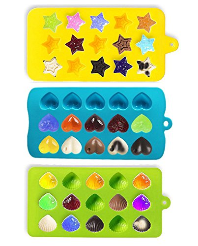Joyoldelf Candy Molds & Ice Cube Trays - Hearts, Stars & Shells - Silicone Chocolate Mold - Fun, Toy Kids Set - Use for Cakes, Chocolate, Ice cream, Tarts, Muffins, Candles, Soaps, Jello, Mousses (Hearts Ice Cube Tray compare prices)