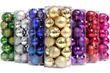"Sea Team 40mm/1.57"" Classic Matte Glaze & Glitter Finish Solid Color Christmas Balls Ornaments Set Multicolor-choice Shatterproof Festive Hanging Ornaments in 3-Finish, 24-Pack (Gold)"