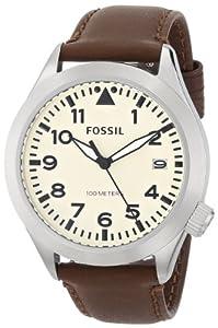 Fossil Herren-Armbanduhr XL Analog Quarz Leder AM4514
