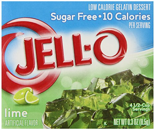 Jell-O Sugar-Free Gelatin Dessert, Lime, 0.30-Ounce Boxes (Pack of 6)