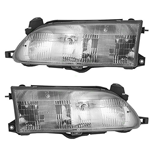 Driver and Passenger Headlights Headlamps Replacement for Toyota 81150-1A491 81110-1E221 (1994 Toyota Corolla Headlights compare prices)