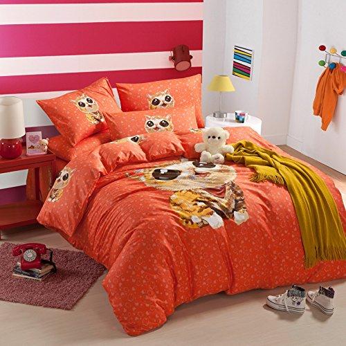 hot hot hot Sale Cute Kitty Orange Bedding Duvet Cover Set Cartoon