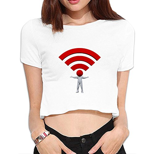 Donny Women's Printing Wifi Symbol Everywhere Midriff-baring T-shirt Summer Blouse Size S White