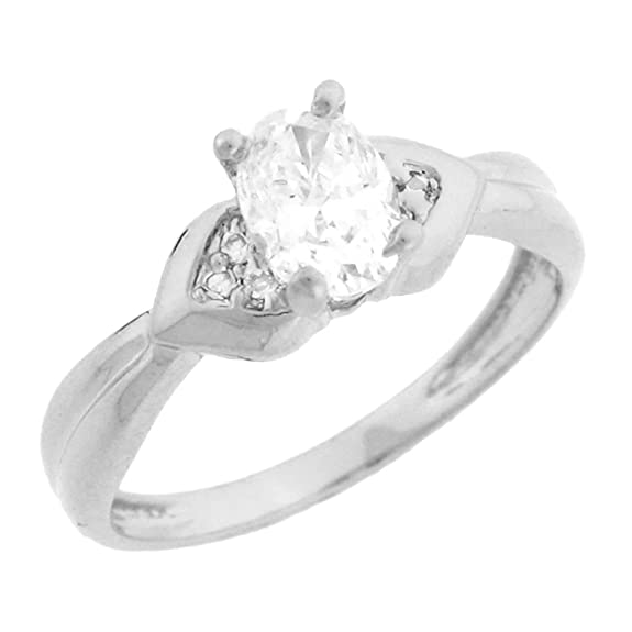9ct White Gold Oval Shape CZ Engagement Ring With Round Pave Accents