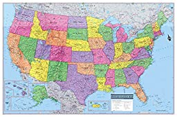 United States Wall Map Poster USA 36\