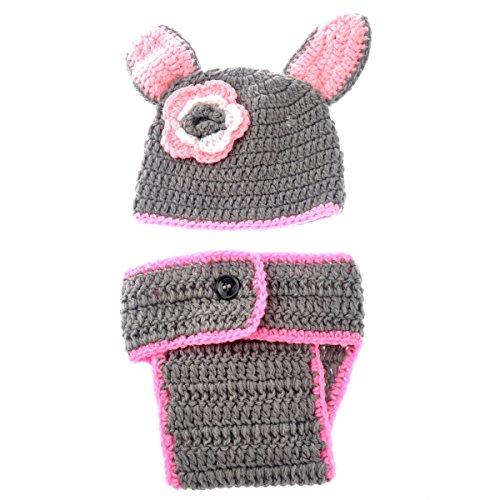 Foxnovo Cute Newborn Infant Baby Girl Boy Handmade Crochet Knit Crown Hat Photograph Prop (Rabbit Style) front-444704