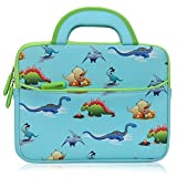 8.9 - 10.1 inch Kid Tablet Sleeve, Evecase Cute Dinosaurs Themed Neoprene Carrying Sleeve Case Bag For 8.9 - 10.1 inch Kid Tablets (Blue & Green Trim, With Dual Handle and Accessory Pocket) (Color: Dinosaurs Themed, Tamaño: 8.9 - 10.1 inch)