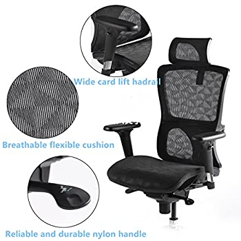 CCTRO High Back Mesh Ergonomic Office Chair with Adjustable Headrest Armrest, 360 Degree Swivel Executive Computer Task Chair for Home Office Conference Room