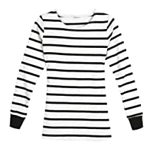 Zeagoo Womens Striped Tee Long Sleeve T-shirt Crew Neck Base Top Blouse white