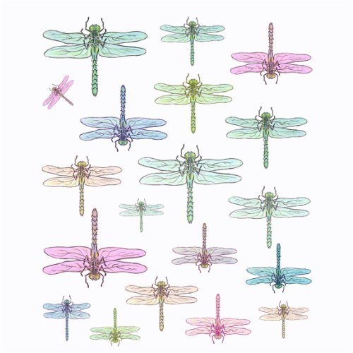 Instant Murals 19 Dragonfly Wall Transfer Stickers - Pastel Watercolor