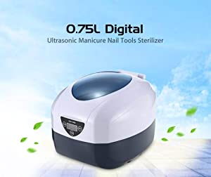 0.75L Digital Ultrasonic Cleaner Manicure Nail Tools Sterilizer Sterilizing Stainless Steel For Glasses Nail Art Equipment Disinfection Machine
