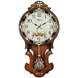 HENSE Antique Retro Living Room Decorative 13-Inch Wood Wall Clock Non-ticking Silent Quartz Movement Sweep Second Hand Wall Clocks w/Swinging Pendulum HP07 (Brown M)