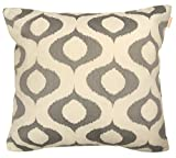 COMPASS Tyra Embroidered Decorative Pillow, 20 x 20 , Ivory/Grey