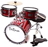 De Rosa DRM312-RD Children's 3 Piece 12 Inch Drum Set with Chair (Red)